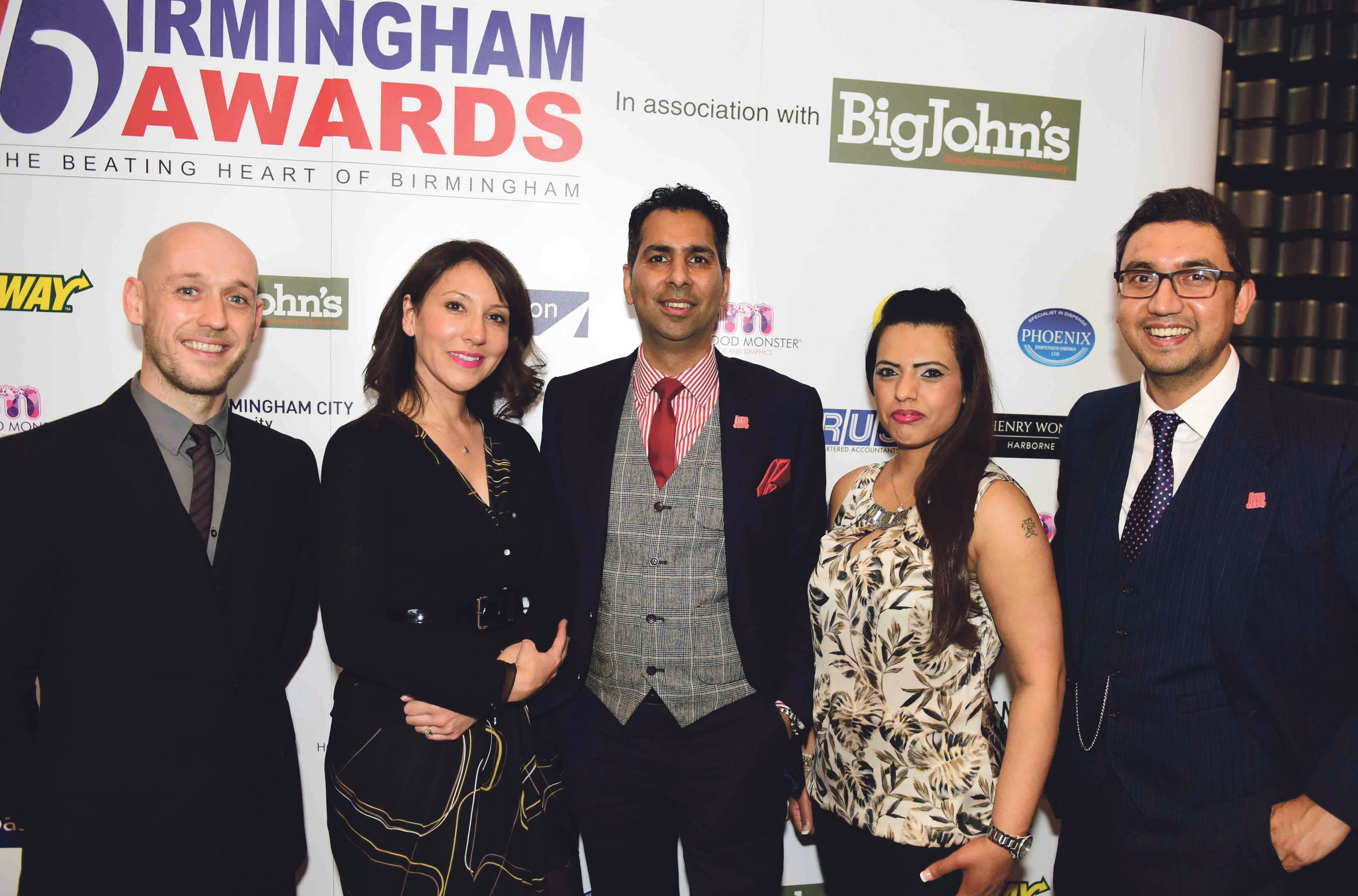 From left: Dan Kelly, Susan Birdy, Ifraz, Anita (Co-Founders of Birmingham Awards) & Raaj Shamji